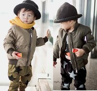aviator flight suit - Newest winter Aviator Bomber baby toddler child jacket military army green marine air force coat cotton padded flight suit