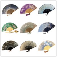 bridal fabric - Chinese Silk Bamboo Hand Fans For Weddings Bridal Accessories Fans With Pretty Scenic Views Party Gifts Arts Crafts