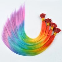 Wholesale 100pcs inch I tip Hair Extension Straight Rainbow Colorful Loop Grizzly Imitation Of Feather Hair Cosplay Costume Hair