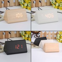 Wholesale Hot Triangular LED Sound Control Wooden Alarm Clock Thermometer Calendar Timer