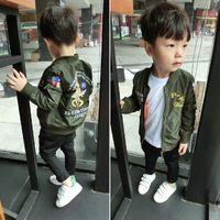 Wholesale 2016 Spring new boys girls bomber jackets children soldier pilot coats kids outerwear autumn army green cardigan
