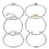 achat en gros de pandora amour perle-8 Styles 925 argent LOVE serpent chaîne ajustement bracelet pandora Bracelets européens bracelet femmes bracelet bracelets Pulseras Homard
