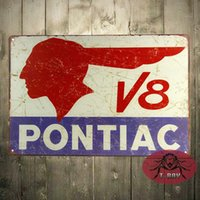Wholesale quot Pontiac V8 quot Retro Vintage Metal Tin Sign for the Man Cave or Garage