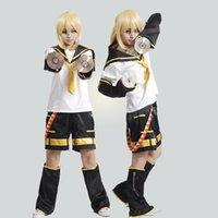 Wholesale Anime costumes cloth set Hatsune Miku cosplay uniform set VOCALOID Kagamine Len cos apparel pants sets