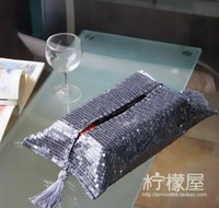 Wholesale Stylish and elegant gray bead piece of paper towel box paper napkin set of European Home Furnishing micro household cloth price spike