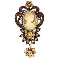 Wholesale Fashion Antique Gold Silver Vintage Brooch Pins Jewelry Queen Cameo Brooches For Women Crystal Flower Long Rhinestone Brooch Christmas Gift