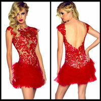 asian club - 2016 Fancy Asian Red Lace Cocktail Party Dresses Cap Sleeve Backless Tulle Night Club Mini Sexy Graduation Dress for Dances