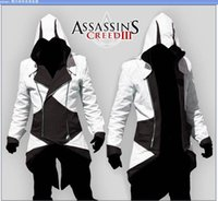 bat costume pattern - Hot Sale Custom handmade Fashion Assassins Creed III Connor Kenway Hoodies Costumes Jackets Coat colors choose direct from factory