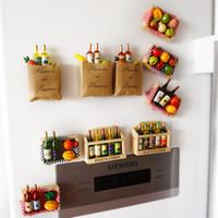 Wholesale 10pcs Multi color d cartoon fruit fridge magnet refrigerator Refrigerator Sticker wooden Magnetic Stickers home decor funny gift