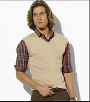 Wholesale HOT SALE new autumn and winter fashion sweater vest men s V neck sweater vest sleeveless vest men warm Black red blue gray dark gray