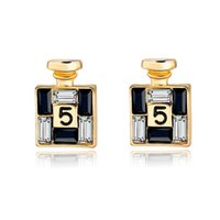 channel - 2016 New Arrival Bijoux Gold Channel Earrings For Women Crystal Stud Earings Famous Brand Jewelry Brincos SER150066
