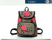 backpack rucksack schoolbag - New Luxury Shoulder Backpacks Embroid Bags Fashion Canvans Student Schoolbag Sports Shopping Rucksack Polyester Cotton