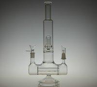 Verre bong tube droit Prix-Boulons en verre de laboratoire Tubes en verre d'eau plate-formes pétrolières Double action Double Joint Inline à Circ Perc Tube droit Joint de 14.5mm