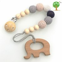 bead pendant holder - Neutral color baby Pacifier Clip Holder with beech Elephant Shaped Pendant Dummy holder Crochet beads new born gift NT132