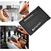 Wholesale Mens Thin Mini Portable Travel Wallet Credit Card Shaver Razor Mirror With Blade