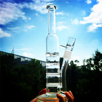 Wholesale Glass Bongs Bong Layer Honeycomb Perc Two Function Turbine Disc Perc Smoking Pipes Straight Tube Water Pipe Ice Pinch Oil Rigs WP261