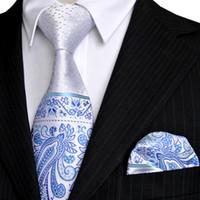 azure silk set - E5 Paisley Floral Dots White Silver Navy Blue Azure Mens Tie Set Neckties Pocket Square Silk