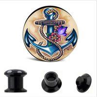 anchor logos - fashion Boat Anchor with Butterfly flower Logo flesh tunnel plugs black acrylic body piercing earring tunnel