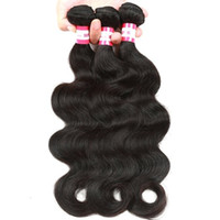 Wholesale 7A Peruvian nature Hair Body Wave Hair Extensions Bundles Mixed Lengths quot Unprocessed Human Hair DHL3 pce