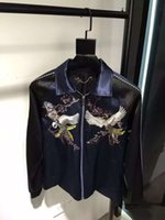 autumn plum - 2016 Autumn winter Fashion brand men jumper Pure manual cranes silk embroidered jackets Little plum blossom embroidered jacket