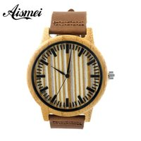 bamboo origin - 2016 Retro Leather Fashion Bamboo Wooden Men Women Quartz Watches Freeshipping with origin box