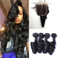 Wholesale Unprocessed Human Hair Virgin Peruvian Loose Wave Human Hair Weave Bundles With Lace Closure Natural Black No Shedding