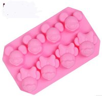 Wholesale 8 cavity Mickey Mouse Cake Mold Flexible Silicone Soap Mold For Handmade Soap Candle Candy bakeware baking moulds kitchen tools ice molds