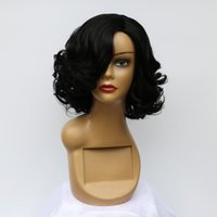 Wholesale Newest Short Wavy Hairstyle Wigs Celebrity Beyonce s Bent Hairline Type Wig Synthetic Short Curly Hair African American Wigs