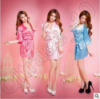 Wholesale Sexy Dressing Gown Colors Women Vogue Lingerie Satin Sleepwear Silk Detail Robe And G String Sexy Sleepwear Nightdress LJJC4622