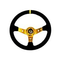 Wholesale GOLD Steering wheel ID inch mm OMP Deep Corn Drifting Steering Wheel Suede Leather Steering wheels