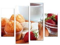 bar cakes - LK4231 Panel Oil Paintings Cake Food And Strawberry Fruit Wall Art Still Life Pictures Print On Canvas For Home Bar Hub Kitchen Modern De