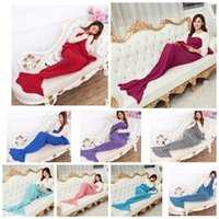 Wholesale Adult Mermaid Sleeping Bags X95cm Mermaid Tail Blankets Knit Sofa Nap Blankets Costume Cocoon Sofa Blankets KKA684