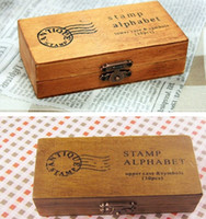 Wholesale DHL Sets set Creative Lowercase Uppercase Alphabet wood rubber stamps set Wooden box Decorative DIY
