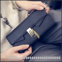 big buckle card - New leather wallet female long section of European and American big retro leather buckle wallet Wristlet