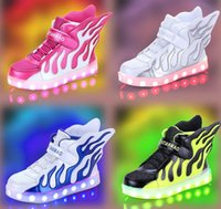 authentic shoes wholesale - 2017 New Children USB charging shoes LED light emitting light shoe authentic boy flame wings girls High help shoes DHL gift
