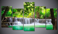 Wholesale 2016 New style Unframe Printed green tropical waterfall Painting children s room decor print poster picture canvas