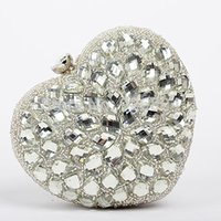 beaded purse charms - Stylish and elegant luxury charm beaded heart shaped evening bag ladies clutch purse wedding party mini chain shoulder bag