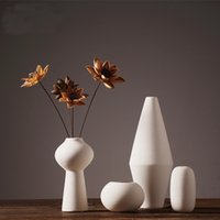 porcelain vase - High Qulaity Pure Handmade Porcelain Different Shapes Flower Vases Pot Pack Luxury Modern Style Decorative Ceramic Art Vase White Home Déc