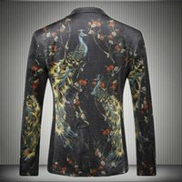 Wholesale Mens Peacock Printed Blazer Pattern Slim Fit New Stylish Single Breasted Mens Casual Retro Velvet Blazers