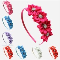 Wholesale Girls Satin Ribbon Flower Hair Band Baby Girl Hairband Baby Kids Hairwear Princess Headband Children Accessories Pc