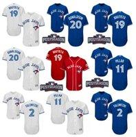 Wholesale 2016 Postseason Patch Men s Toronto Blue Jays Tulowitzki Encarnacion Josh Donaldson Bautista Pillar baseball jerseys Stitched