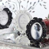 al por mayor marco de envío libre negro-50pcs / Lot + estilo victoriano Whiteblack barroco imagen / foto Coloque el marco de favores titular de la tarjeta WeddingBridal ducha + FREE