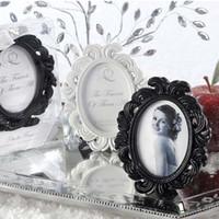 achat en gros de noir cadre photo livraison gratuite-50pcs / Lot + Style victorien WhiteBlack baroque Image / Cadre photo place Favors Card Holder WeddingBridal de douche + LIVRAISON GRATUITE