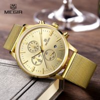 autos deportivos - MEGIR Casual Quartz watch Mens Watches Top Brand Luxury Mesh Brand Watch Men Clock Luminous Hour reloj hombre deportivos