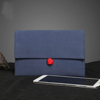 Wholesale Original double linen Retro chinese flavor embroidery Handmade iPad case cover bag Clutch wallet