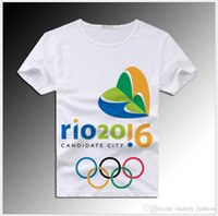 army tank games - 2016 Rio Olympics T Shirt Games Commemorative Anti Pilling Tops for Men Women Print Cartoon Logo Tees White Color