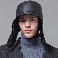 Wholesale DL New Winter Hats For Men leather Warm Fur Hat Aviator Cap With Ear Flaps Russian Hat Men Leifeng Beanies