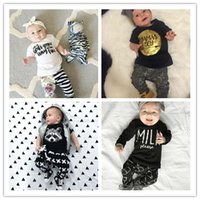 baby jumper suit - Infant Baby Boy Cotton Clothing Sets Baby Girs Letter Printed t shirts Harem Pants Set Jumpers Leggings Suits Kids Cartoon Clothes Sets