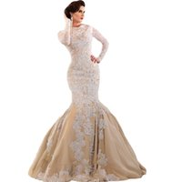 arabian robes - Robe de soiree Saudi Arabian Middle East Muslim Long Sleeve Lace Mermaid Champagne Evening Dresses Corset Back Prom Gown