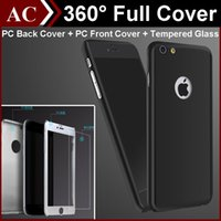 Wholesale 360 Degree Full Body Covered Ultra thin Hard PC Case For iPhone S S plus S6 back Cover with Tempered Glass Screen Protector Retail